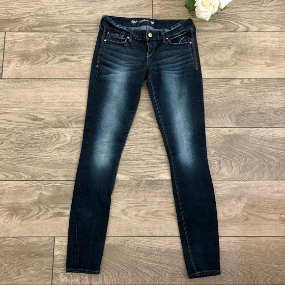 EXPRESS dark wash with faded detailing jeans size 2